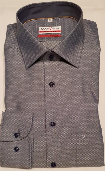 Marvelis Herren Hemd Modern Fit langarm - taubenblau mit Struktur