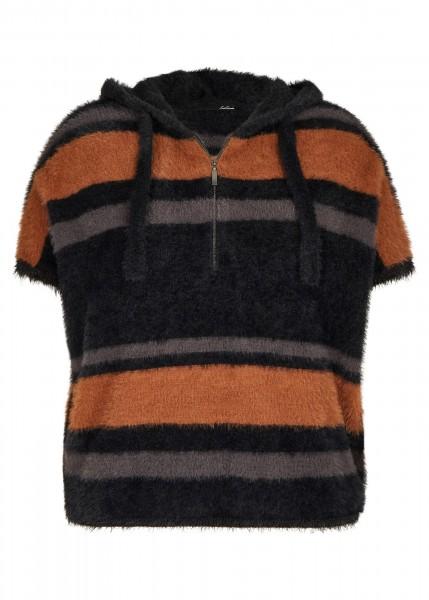 LeComte Pullover mit Streifen-Muster und Überschnittenen Schultern in Schwarz