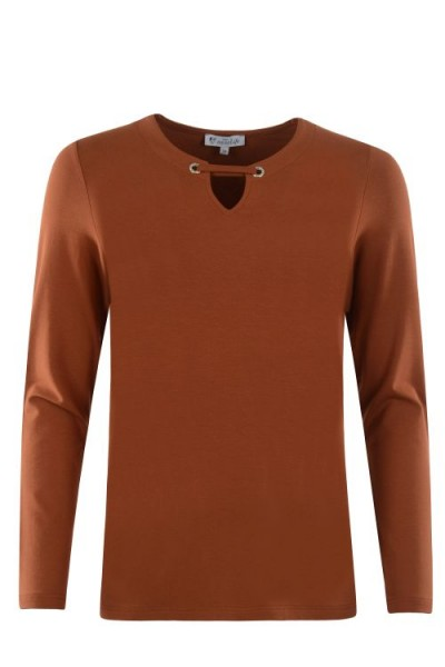 Hajo Damen Shirt uni - cognac