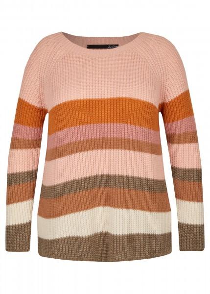 Pullover mit gestreiftem Muster und langen Raglanärmel in PERLROSA