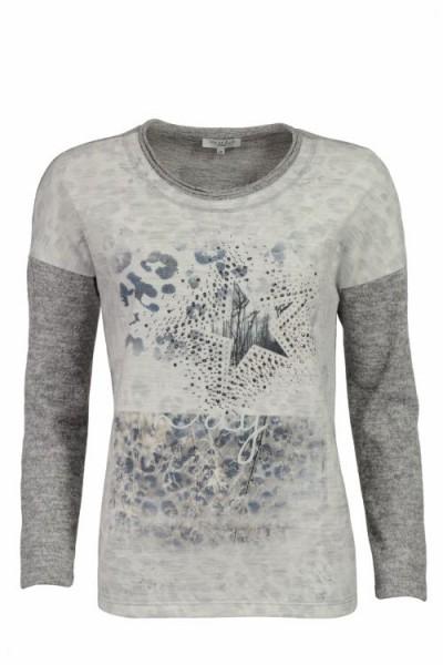 Hajo Damen Leichtsweatshirt 1/1 Arm, Rundhals - graumelange