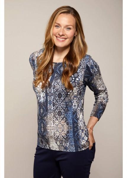 Hajo Damen Shirt Mosaik-Print in Kokos