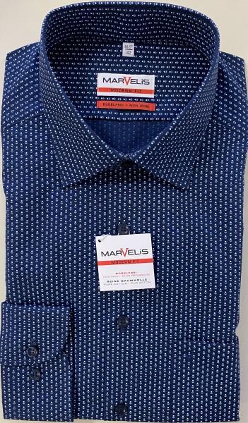 "Marvelis Hemd ""Modern Fit"" Langarm blau mit Muster"