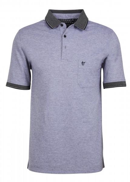 Hajo Herren Polo Shirt in Zweitoneffekt- schwarz