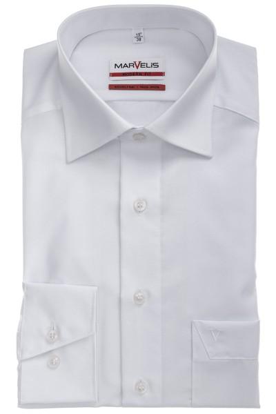 Marvelis Hemd Modern Fit langarm weiß, New Kent Kragen