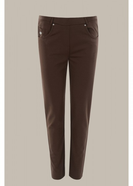 Hajo Damen Jerseyhose im 5-Pocket Design in Mokka