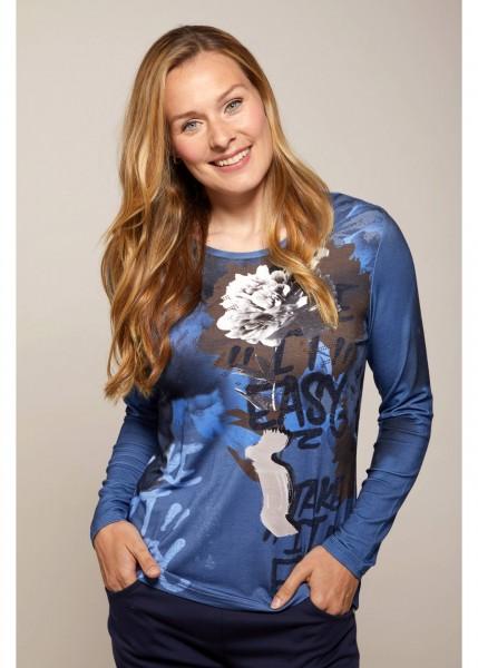 Hajo Damen Shirt mit Blumenprint in Tinte
