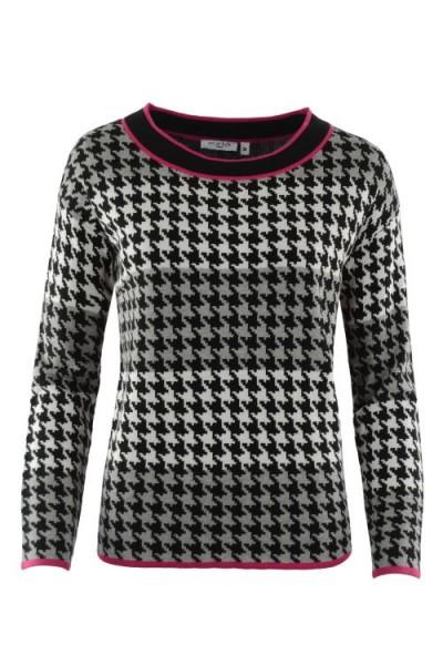 Hajo Damen Pullover mit Pepita Jacquard - schwarz/graumeliert