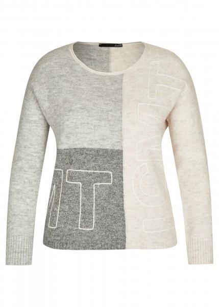 Pullover mit Colorblock und Marken-Lettering in Perlmutt