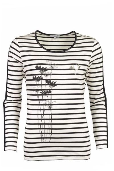 Hajo Damen Shirt Rundhals Lurexstitch - schwarz-ecru