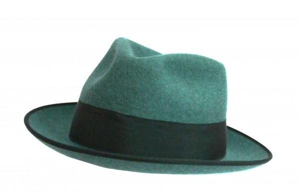 Schützenhut hellgrün mit Krempe und Schweißlederband