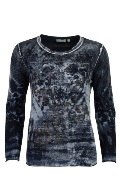 Hajo Damen Pullover Backside Print - marine