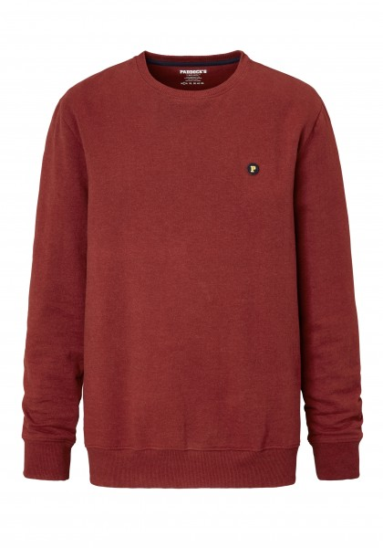 Paddock´s Round neck sweat shirt with small badge - carmine red
