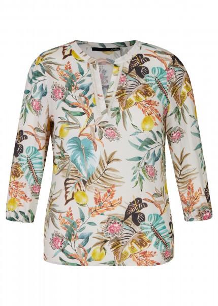 LeComte Damen Bluse mit bunten und floralen Elementen - Bambus