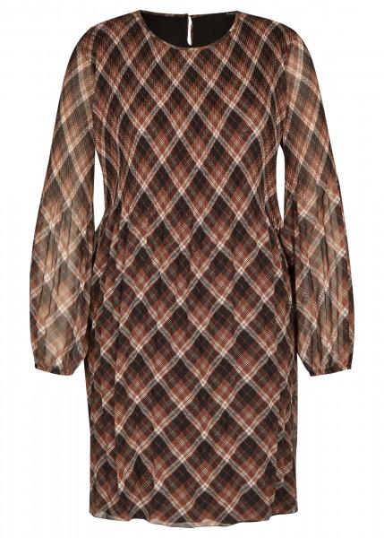 LeComte Kleid mit kariertem Muster und Plisseefalten in Schwarz