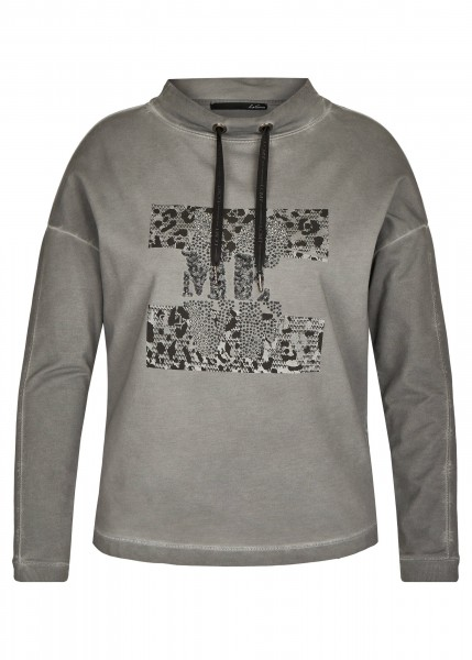 LeComte Shirt mit Exotischen, Melierten Details und Glitzersteinen in Mittelgrau