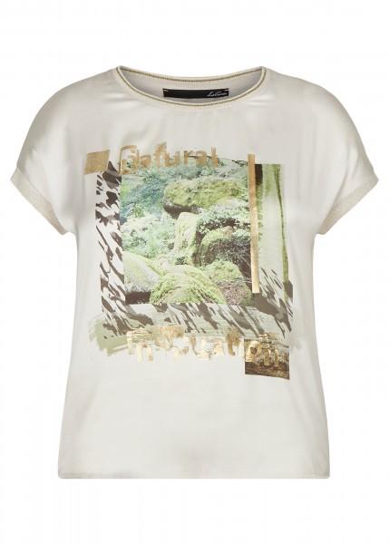 LeComte Shirt mit exotischem Front-Print & Wording - Elfenbein