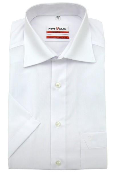 Marvelis Hemd Modern Fit kurz Arm weiß, New Kent Kragen