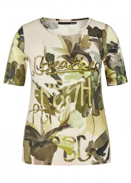 LeComte Shirt mit buntem Allober-Muster und Pailletten - Elfenbein