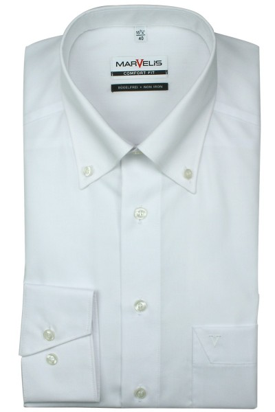 Marvelis Hemd Comfort Fit langarm weiß, Button Down