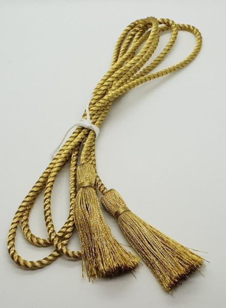 Hutschnur goldfarbig aus 4 m starker Kordel mit Cordonettquasten goldfarbig