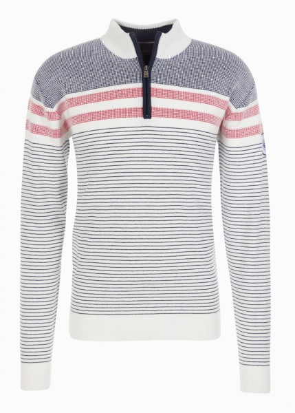 Hajo Herren Stehkragen Pullover - weiß/marine
