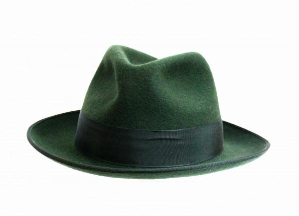 Schützenhut dunkelgrün mit Krempe und Schweißlederband