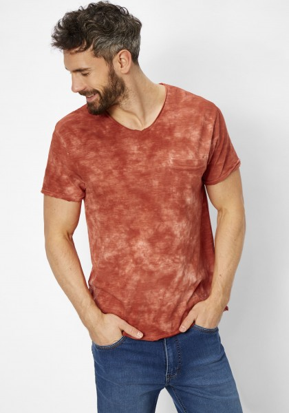 Short sleeve v-neck batik effect - hibiscus red