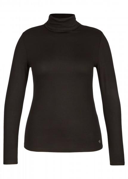 SHIRT LeComte mit Unifarbenem Stoff und langen Ärmeln in Schwarz