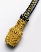 Portepee goldfarbig mit Lederriemen