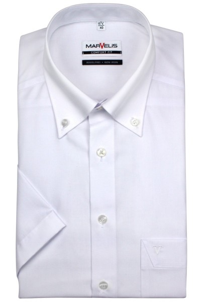 Marvelis Hemd Comfort Fit kurz Arm weiß, Button Down Kragen