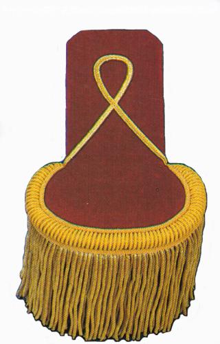 Epauletten mit extra langer Zunge goldfarbig auf weinrot Smat