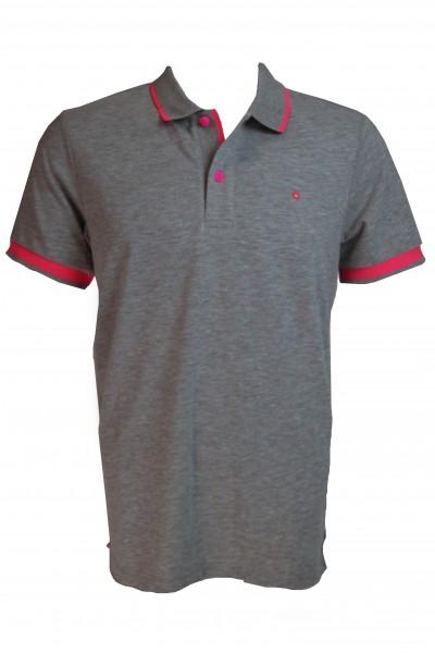Shockly Herren Poloshirt - grau/rot