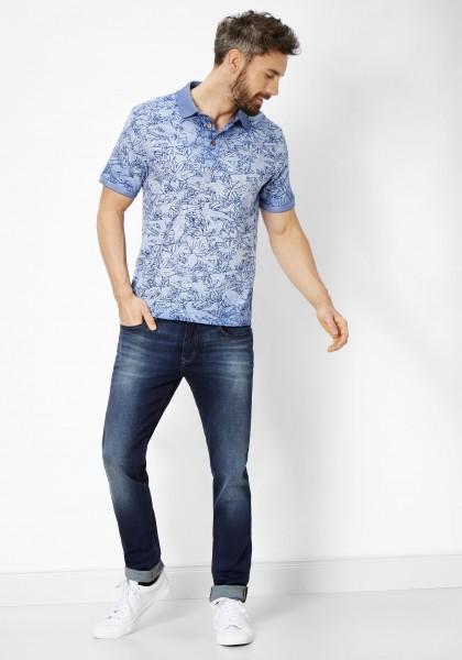 Paddock´s Polo Shirt, kurz Arm mit Druck - Asphaltblau