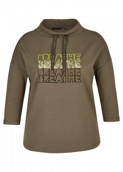 LeComte Damen Sweatshirt mit Stehkragen - Olivbraun