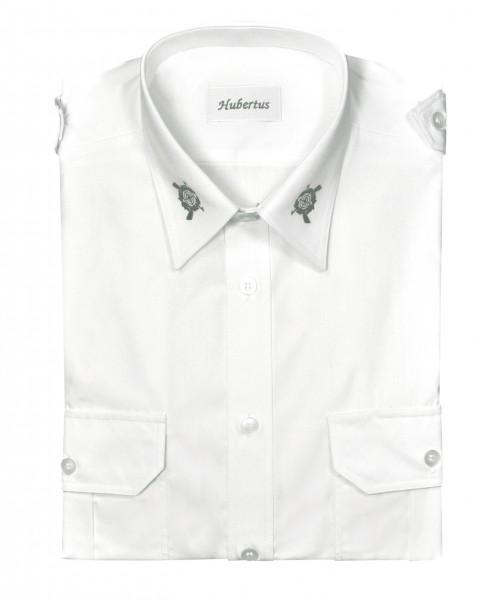 Pilotenhemd langarm, weiß mit Stickerei