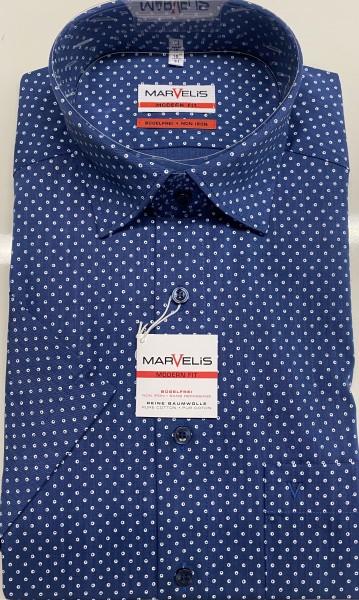 """Marvelis Hemd """"Modern Fit"""" kurz Arm - blau mit Punkten"""