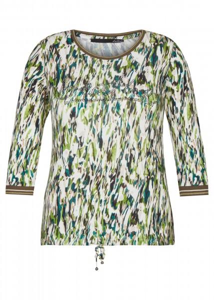LeComte Shirt mit buntem, abstraktem Muster und Glitzersteinen in Elfenbein