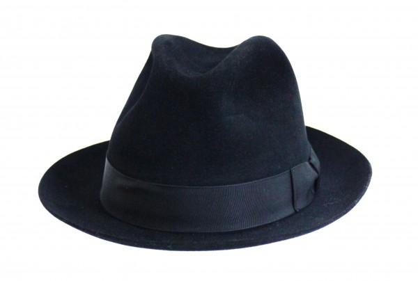 Schützenhut schwarz mit Krempe und Schweißlederband
